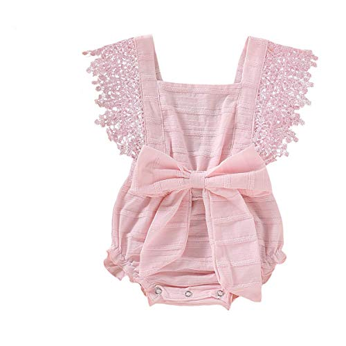 - Newborn Summer Outfits Baby Ruffle Romper Lace Sleeveless Bodysuits Bowknot Jumpsuit Sunsuits (Pink, 12-18 Months)