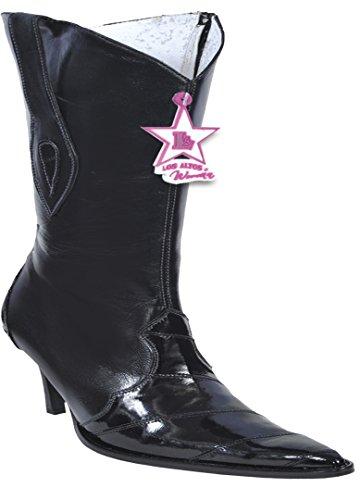 Botas Altas De Piel Genuina Eel / Anguila Para Mujer Western Botas Negras