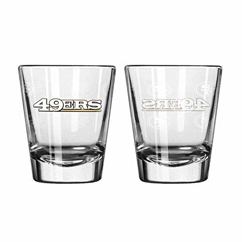 San Francisco 49ers Shot Glass - 2 Pack Satin Etch - New UPC - San Francisco 49ers Shot Glass