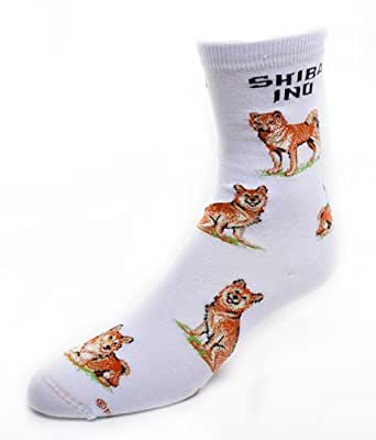 Shiba Inu Dog Adult Poses Socks v.2,White,Medium