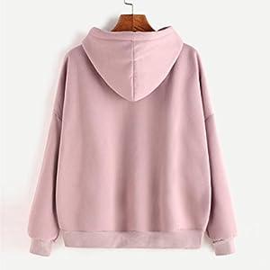 Women Autumn Hoodies & Sweatshirts,Sunfei Women Ladies Solid Long Sleeve Pink Hooded Pullover (L)