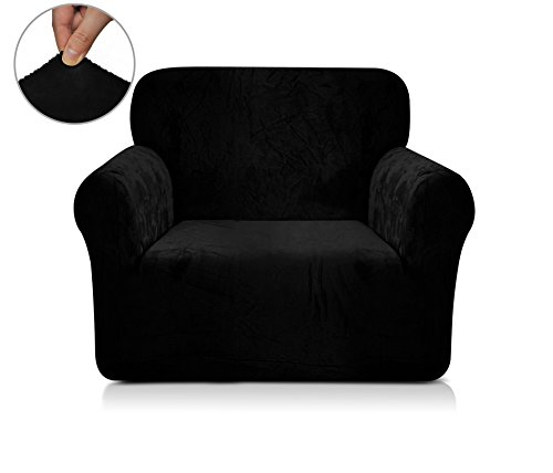 Chunyi Coral Fleece Sofa Covers 1-Piece Polyester Spandex Fabric Slipcover (Chair, Black)