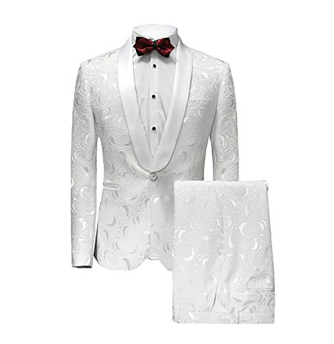 MAGE MALE Men's 2-Piece Fish/Leopard Floral Printed One Button Notch Lapel Wedding Blazer Pants Sets (M, White)