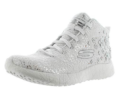 Skechers 12794-WSL : Women's Burst Seeing Stars Casual Shoe White/Silver (9 B(M) US) by Skechers