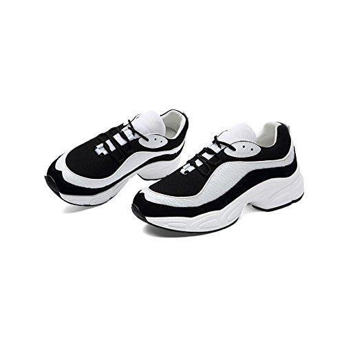 39 casual Outdoor Sneakers Dimensione casual Comfort Nero Mesh Ladies Sneakers Gym Low traspirante Scarpe Flat Bianca Colore Fall da Spring Cravatta Top donna PU Sports Scarpe vRwtxSwUqn