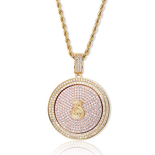 JINAO Micropave Simulated Diamond Iced Out Rotate Money Bag 69 Pendant Necklace Hip Hop Jewelry (Gold - Money Bag)