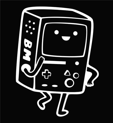 Adventure Time BMO WHITE Vinyl Car/Laptop/Window/Wall Decal]()