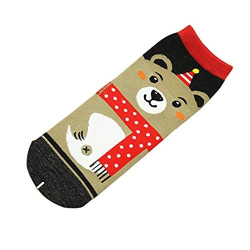 Sumen Cartoon Santa Crew Socks Women Girls Home Slipper Socks (C)