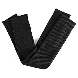 Arm Sleeves Women's Autumn and Winter Thick Long Gloves Knitted Warm Sleeves Gloves, BBQ Gloves, Work Gloves, (Color : Black, Size : L)