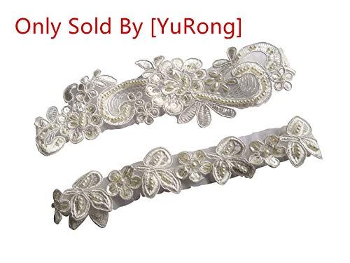 YuRongsxt  Wedding Garter Set Sequins Floral Bridal Pearls Garter Set G35 -
