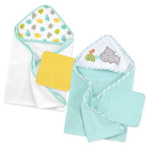 Born Wrap (Just Born Love to Bathe Hippo Bath Set, Grey/Green)