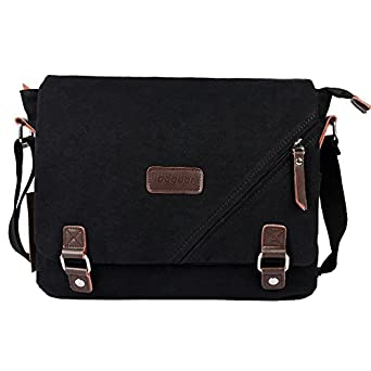 Amazon.com: ibagbar Canvas Messenger Bag Shoulder Bag Laptop Bag ...