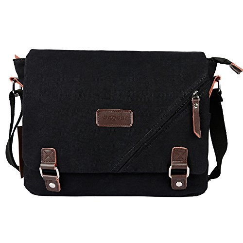 ibagbar Canvas Messenger Bag Shoulder Bag Laptop Bag Computer Bag Satchel Bag Bookbag School Bag Working Bag for Men and Women Black Large