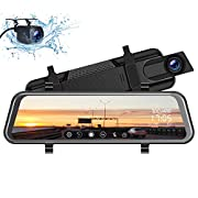 "#LightningDeal TOGUARD Mirror Dash Cam 10"" 1080P Backup Camera Front and Rear Dual Lens Car Camera Video Streaming, Rear View Mirror Camera for Car with Waterproof 1080P Rear Camera Parking Assistance Night Vision"