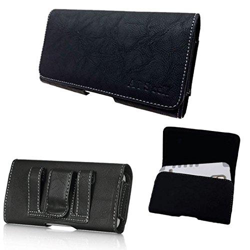 BLU Vivo XL 2 ,Vivo 8L/8 , Vivo 5R, Vivo 6 Pouch Holster Premium Black Suede Leather Flap Case Belt Loops Holster (fits Phone+Hybrid Armor Dual Layer Protective Kickstand Skin Case Cover) (BLACK) -  AIScell