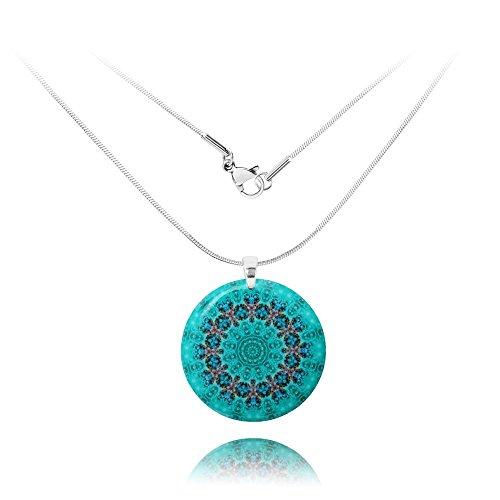 Light Blue Mandala Round Pendant for Her for Mother's day by Dragon Porter (Blue Light Turquoise Pendant)