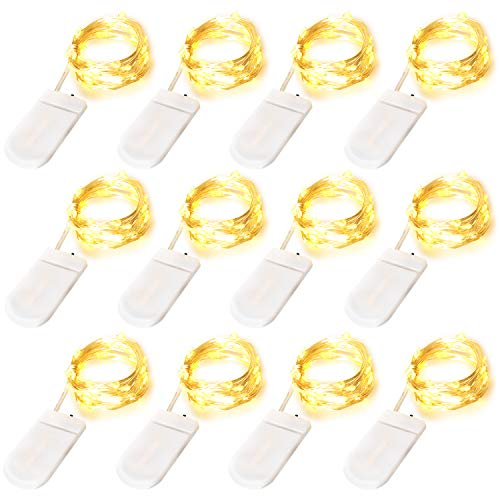 Edvision Fairy Lights 12Pack Battery Operated String Lights 7FT 20LED Christmas Lights Silver Wire Mason Jar Lights for Wedding Birthday Party Ceremony Christmas Thanksgiving Decoration, Warm White