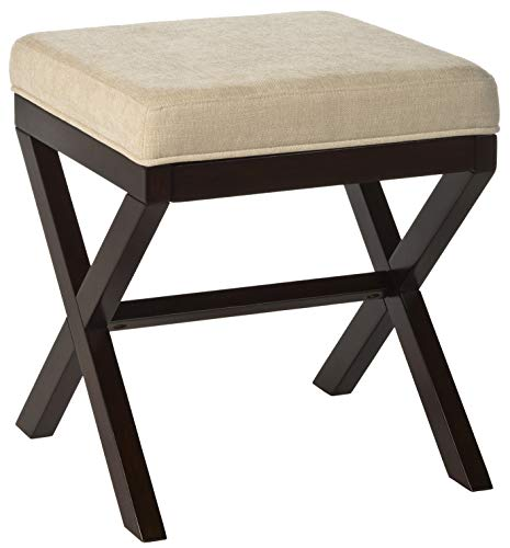 - Hillsdale Furniture 50964 Morgan Vanity Stool, Espresso Wood and Stone Upholstery
