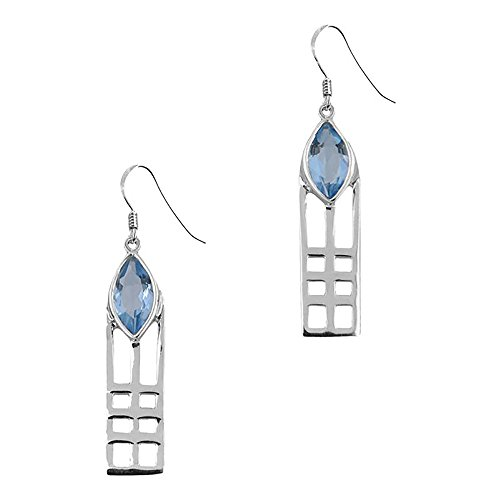 Sterling Silver Mackintosh Silver Drop Earrings Lines Stone