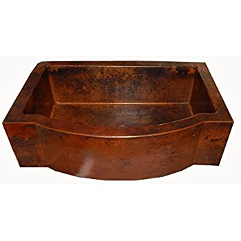Adams Farmhouse Apron Front Handmade Copper Kitchen Sink