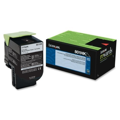 "Lexmark International, Inc - Lexmark 801Hk Black High Yield Return Program Toner Cartridge - Black - Laser - 4000 Page - 1 Each ""Product Category: Print Supplies/Ink/Toner Cartridges"""