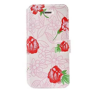 NEW Fashion Small Fresh Red Flowers Pattern Pink Leather Case with Holder & Card Slots for iPhone 5C