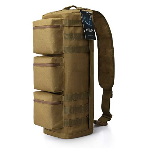 G4Free Tactical Sling Bag Chest Pack, Military Assault Messenger Backpack for Gym Hiking Camping with MOLLE System (Tan)