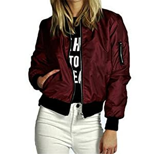 Women Jacket,Haoricu Autumn Winter New Fashion Women Slim Motorcycle Soft Zipper Short Coat Jacket (S, Wine)