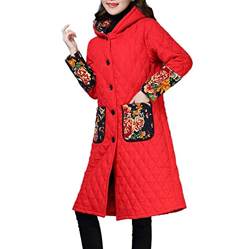 BETTERUU Women Plus Size Winter Coat Folk-Custom Cotton-Padded Jacket Long Puffer Parka from BETTERUU