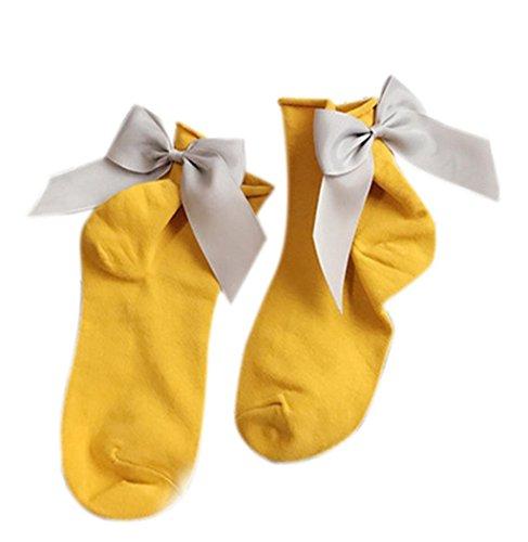 Sagton Women Harajuku Street Style Calze Di Cotone Alla Caviglia Lunghezza Calze Crew Socks Con Bowknot Giallo + Grigio
