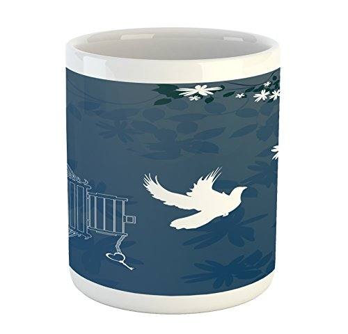 Lunarable Romantic Mug, French Style Love Theme Bird Cage and Dove Flying Out with Swirls, Printed Ceramic Coffee Mug Water Tea Drinks Cup, White Slate Blue and ()