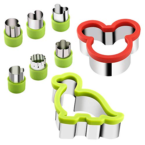 KSPOWWIN Cookie Sandwich Cutters, Mickey Mouse and Dinosaur Cookie Cutter, Fruit and Vegetable Stamps Mold, 8 Piece Stainless Steel Food Grade Biscuit Mold for Kids