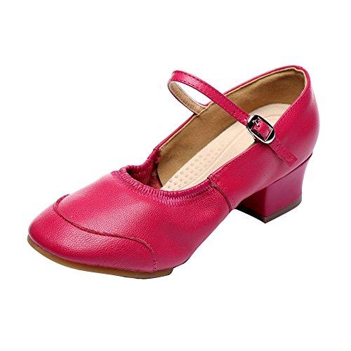 Social Longitud Tacones Mediados Baile 8 6Inch Latino Fondo Red 21 Zapatos Zapatos Zapatos Salón Rose de Blando de 8CM Mujeres de pie del de WYMNAME Baile Baile w4PxR870Wq