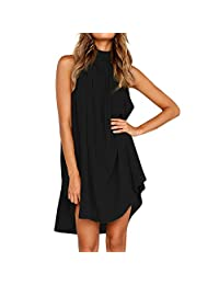 Womens Holiday Irregular Dress,Summer Beach Sleeveless Dress Changeshopping