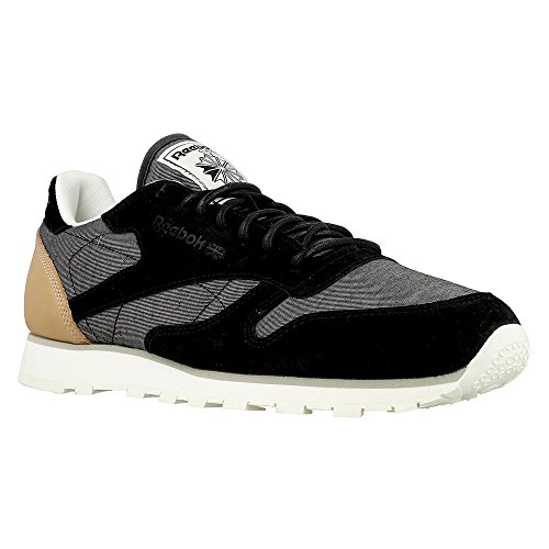 Reebok - CL Leather Fleck - AQ9723 - Color: Black-Grey - Size: 10.5