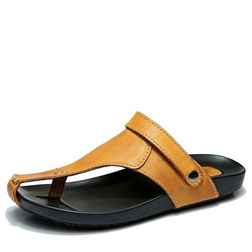 Z.suo Menns Lær To Slitasje Metode Flip-flop Sandal Gul