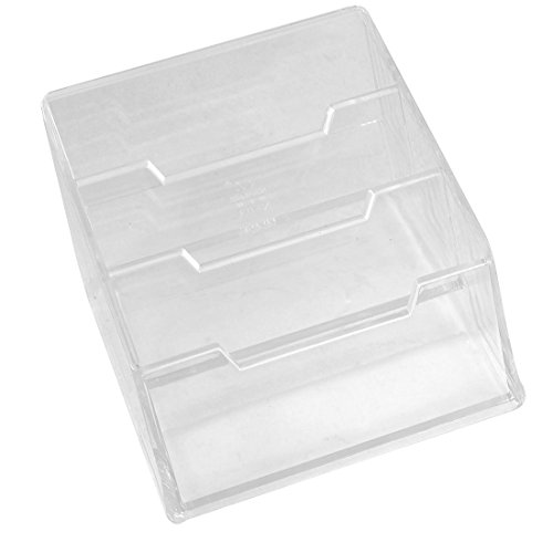 Plastic 3-tier Design Business Card Stand Holder Case, Clear
