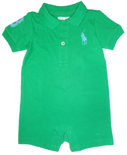 Ralph Lauren Polo Infant's Short Sleeve Big Pony Romper Green, 3 Months