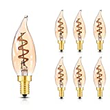 Flexible LED Filament Bulb,C32 (Flame Tip Shape) Vintage Spiral Lamp,Super Warm White 2200K, 2W Equivalent 20W, E12 Dimmable Edison LED Bulb,CRI>90, Amber Glass - 6Pack