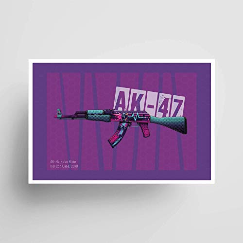 AK-47 Neon Rider; Gaming Poster, Unframed, Gaming Decor, Gifts under $15