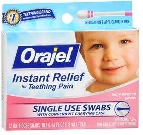 Swabs Sore (Baby Orajel Fast Teething Pain Relief Teething Swabs Berry 12 Each (PACK OF 2))