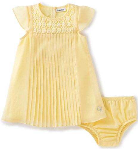 calvin-klein-baby-girls-2-pieces-dress-with-panty-cap-sleeves-yellow-18m