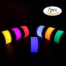 Pack of 7 LED Light Up Band Slap Bracelets Night Safety Wrist Band For Running Man Riding Walking Concert Party Camping Outdoor Sports With 8 Extra Button Battery