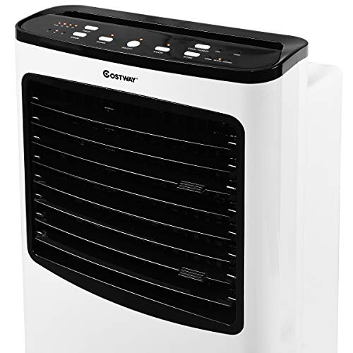 COSTWAY Evaporative Air Cooler, Portable Air Cooler with Fan & Humidifier Bladeless Quiet Electric Fan w/Remote Control for Indoor Home Office Dorms (29'' H) by COSTWAY (Image #8)