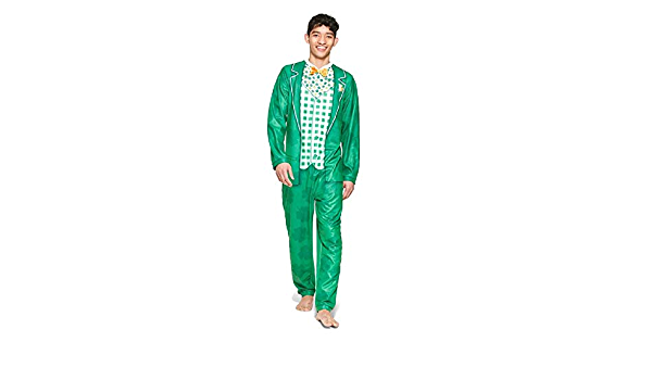 Briefly Stated Men/'s Leprechaun Union Suit Med Green Pajama Halloween costume