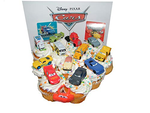 Disney Cars Movie Deluxe Cake Toppers Cupcake Decorations Set of 14 with Plastic Cars, a Sticker Sheet and ToyRing Featuring Lightning McQueen, Nash, Dr. Damage and -