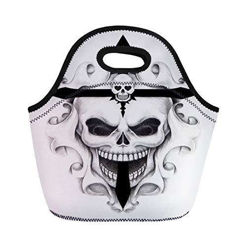 Semtomn Lunch Tote Bag Drawing Skull Cross Tattoo