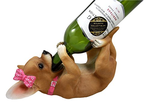 Ebros Female Pink Ribbon Tea Cup Chihuahua Wine Holder Bottle Caddy Figurine 10.25