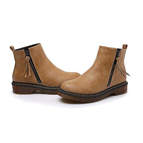 Cybling Mode Femmes Gland Fermeture À Glissière Up Bottines Pour La Randonnée Marche En Plein Air Orteils Ronds Chaussures Jaune