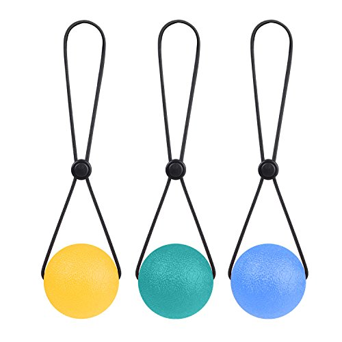 TEX Stress Ball on a String - Portable Fidget Squeeze Toys Strengthen Hand Exercise and Relieve Tension Best Gift for Women Men 2.1inch (Set of 3)